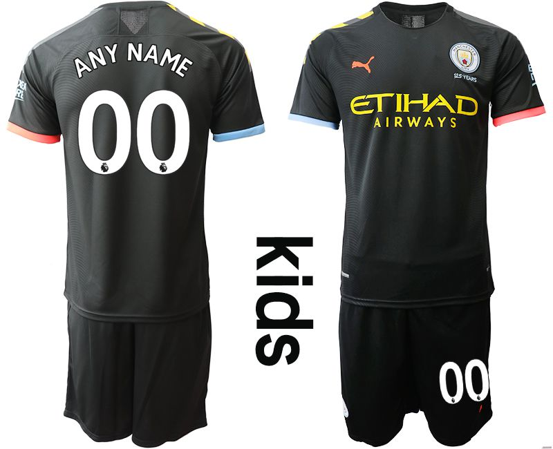 Youth 2019-2020 club Manchester City away customized black Soccer Jerseys