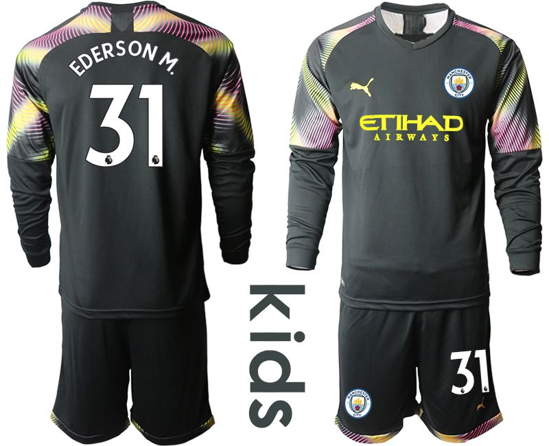 Youth 2019-2020 club Manchester City black goalkeeper Long sleeve 31 Soccer Jerseys