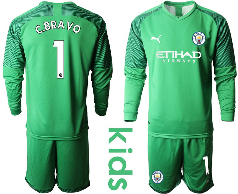 Youth 2019-2020 club Manchester City green goalkeeper long sleeve 1 Soccer Jerseys