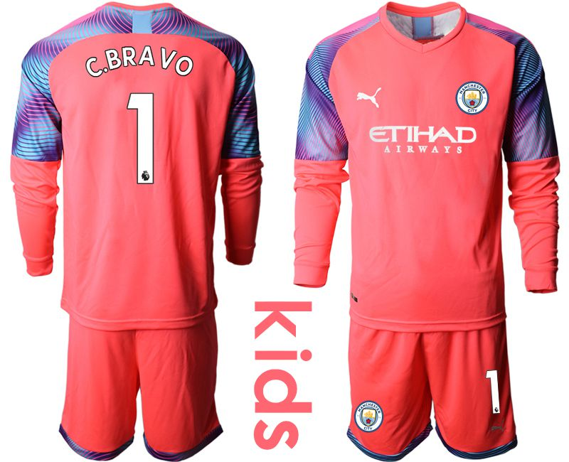 Youth 2019-2020 club Manchester City pink goalkeeper long sleeve 1 Soccer Jerseys