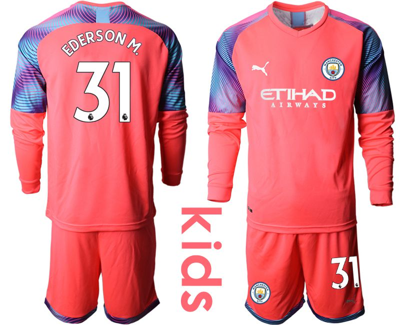 Youth 2019-2020 club Manchester City pink goalkeeper long sleeve 31 Soccer Jerseys