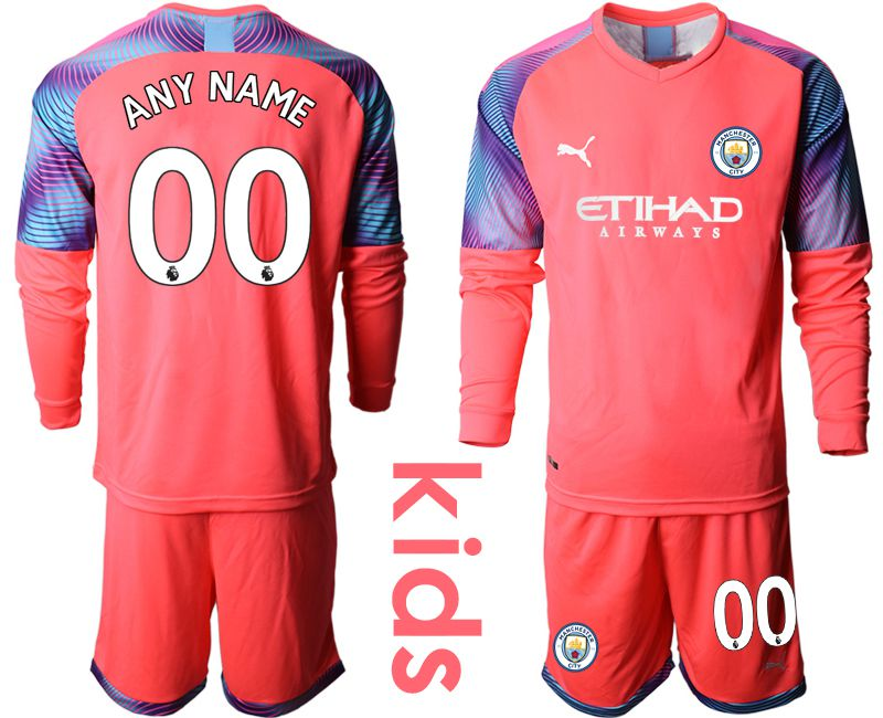 Youth 2019-2020 club Manchester City pink goalkeeper long sleeve customized Soccer Jerseys