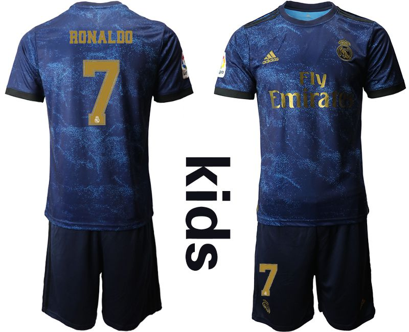 Youth 2019-2020 club Real Madrid away 7 blue Soccer Jerseys