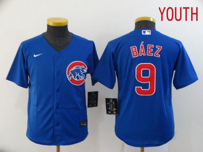 Youth Chicago Cubs 9 Baez Blue Game Nike MLB Jerseys