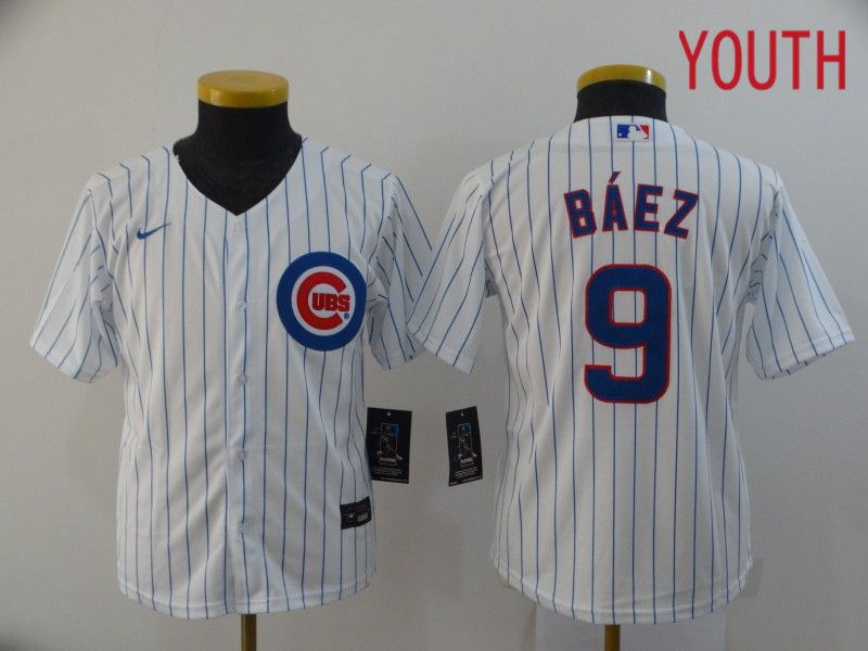 Youth Chicago Cubs 9 Baez White Game Nike MLB Jerseys
