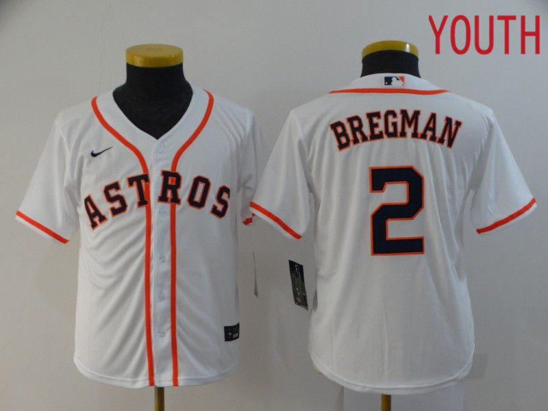 Youth Houston Astros 2 Bregman White Nike Game MLB Jerseys