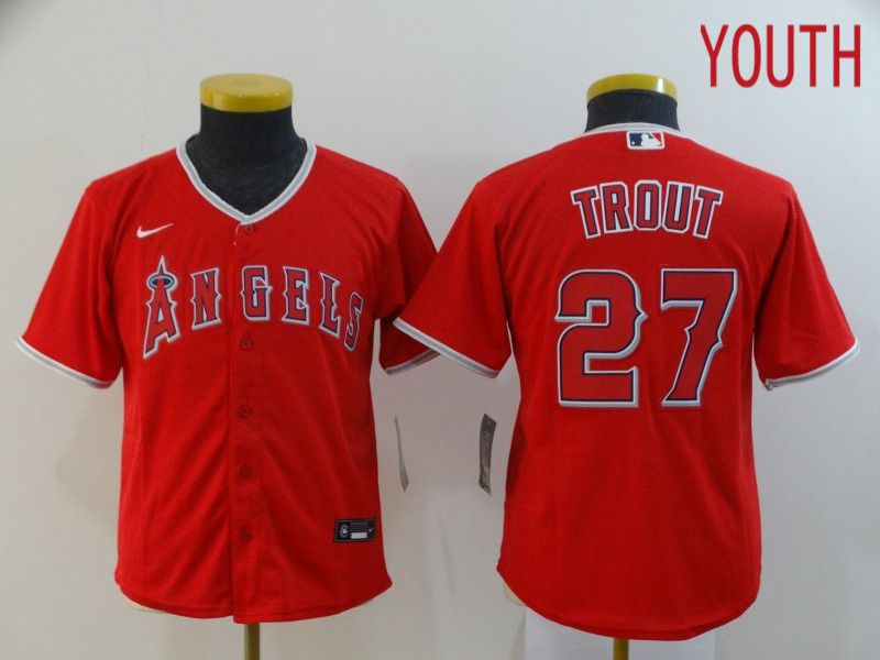Youth Los Angeles Angels 27 Trout Red Nike Game MLB Jerseys