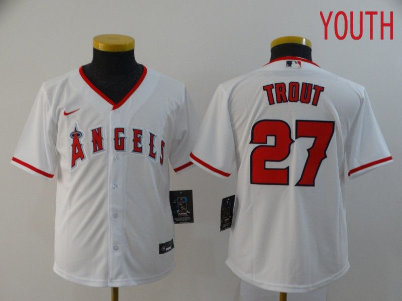 Youth Los Angeles Angels 27 Trout White Nike Game MLB Jerseys