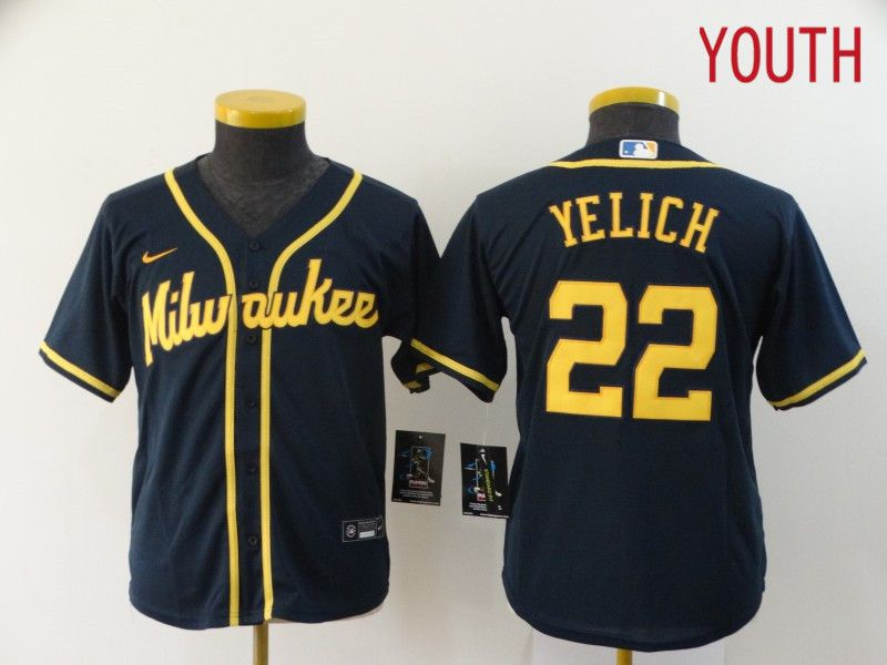 Youth Milwaukee Brewers 22 Yelich Blue Game Nike MLB Jerseys