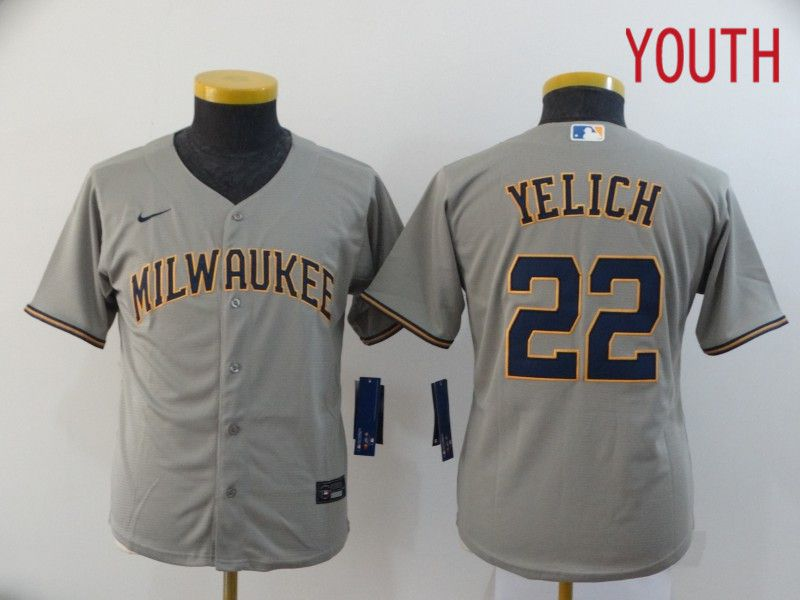 Youth Milwaukee Brewers 22 Yelich Grey Nike Game MLB Jerseys