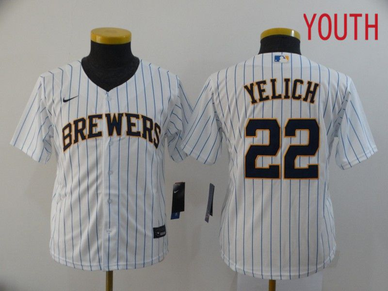 Youth Milwaukee Brewers 22 Yelich White Nike Game MLB Jerseys