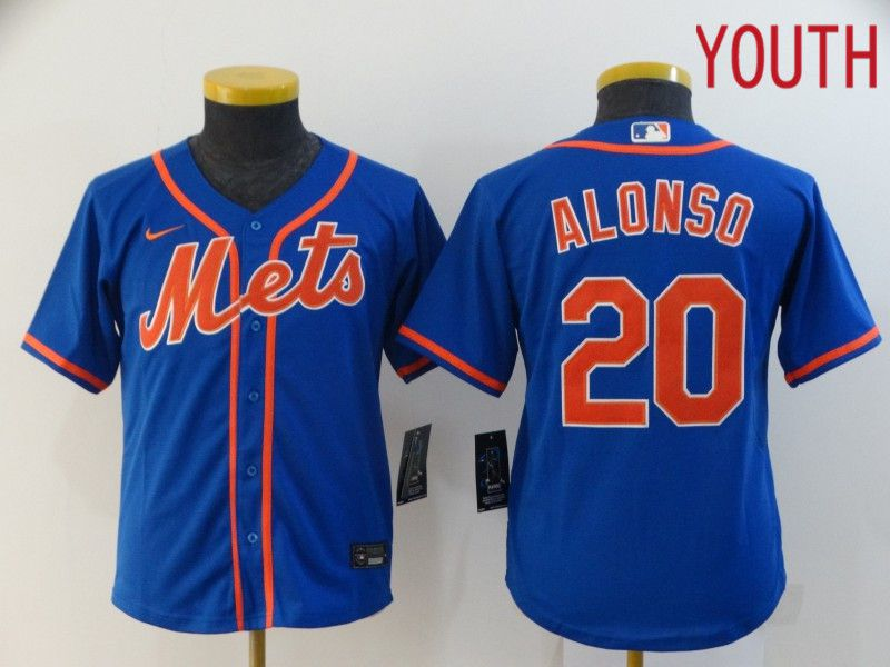 Youth New York Mets 20 Alonso Blue Nike Game MLB Jerseys