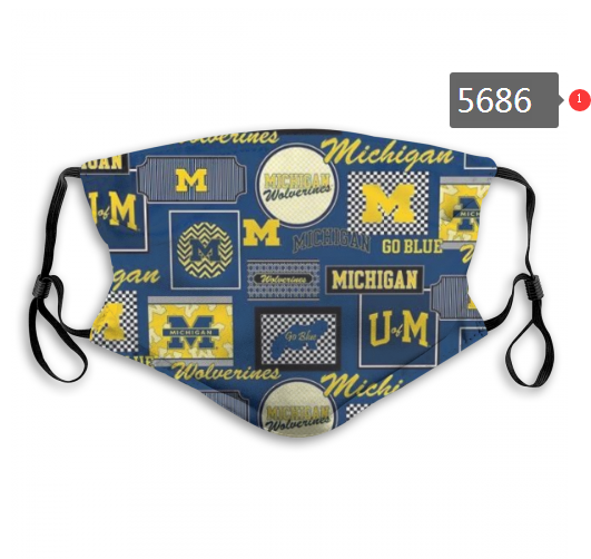 2020 NCAA Michigan Wolverines 5 Dust mask with filter