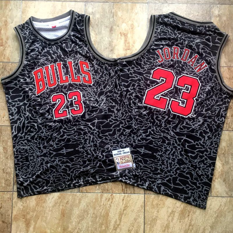 Men Chicago Bulls 23 Jordan Black split tight embroider Mitchell Ness NBA Jerseys