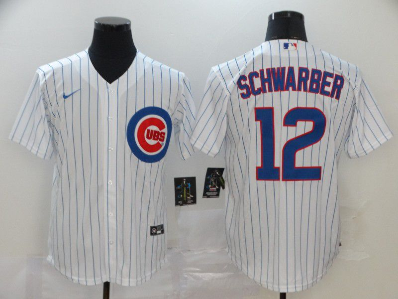 Men Chicago Cubs 12 Schwarber White Game Nike MLB Jerseys