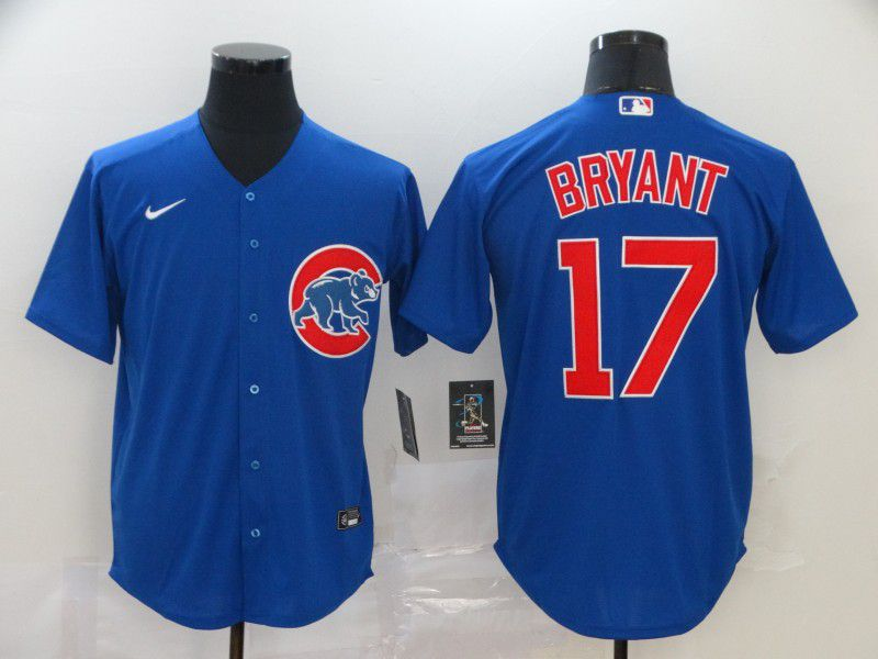 Men Chicago Cubs 17 Bryant Blue Game Nike MLB Jerseys