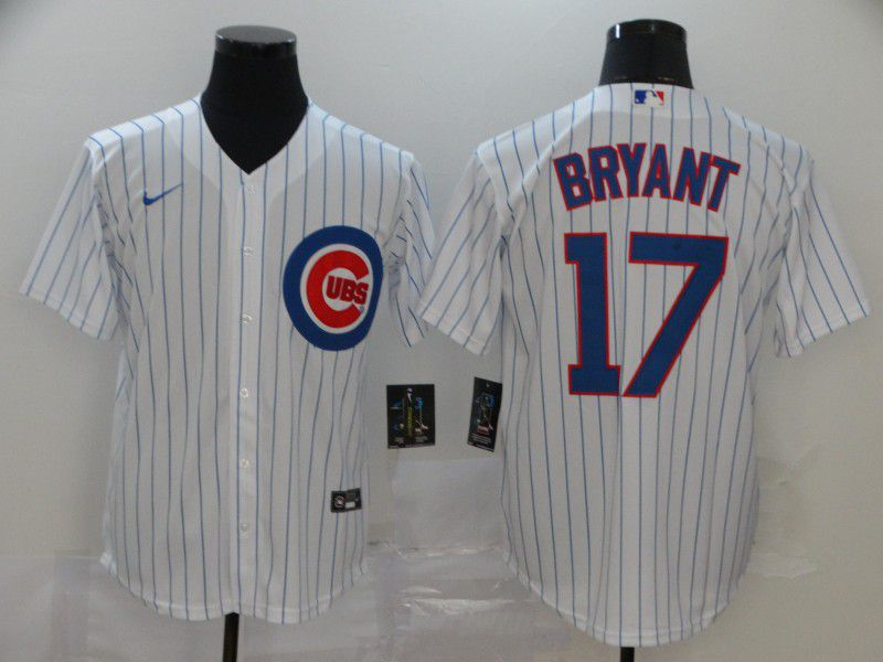 Men Chicago Cubs 17 Bryant White Game Nike MLB Jerseys