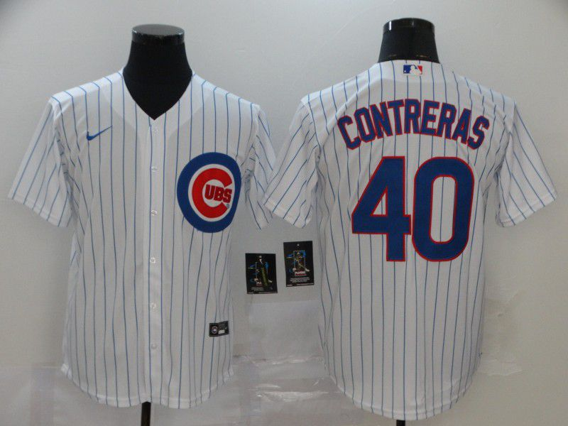 Men Chicago Cubs 40 Contreras White Game Nike MLB Jerseys