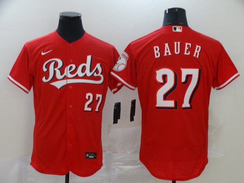 Men Cincinnati Reds 27 Bauer Red Nike Elite MLB Jerseys