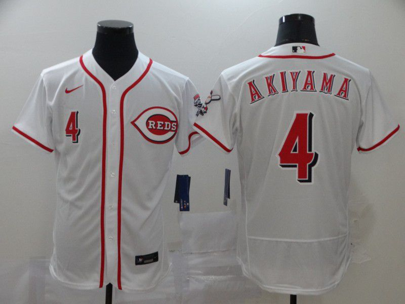 Men Cincinnati Reds 4 Akiyama White Nike Elite MLB Jerseys