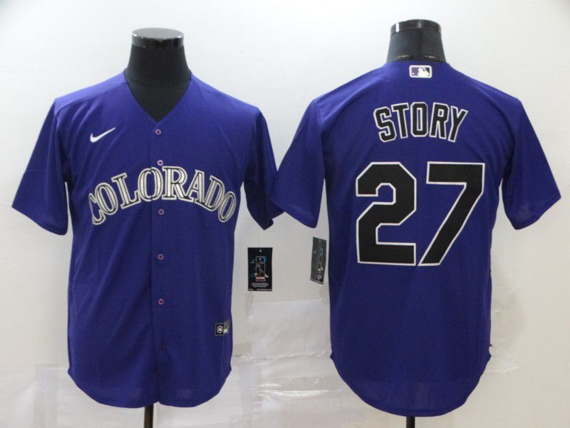 Men Colorado Rockies 27 Story Purple Nike Game MLB Jerseys