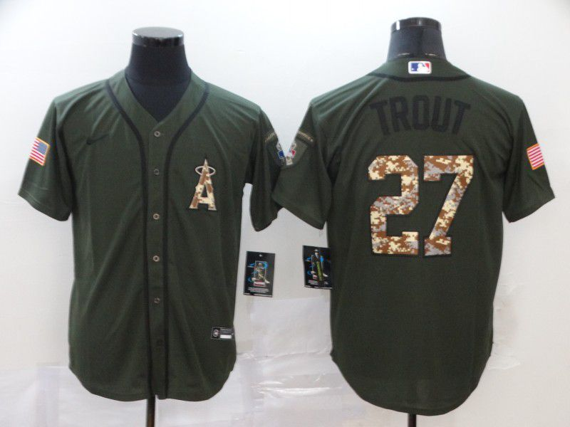 Men Los Angeles Angels 27 Trout Green Nike Game MLB Jerseys