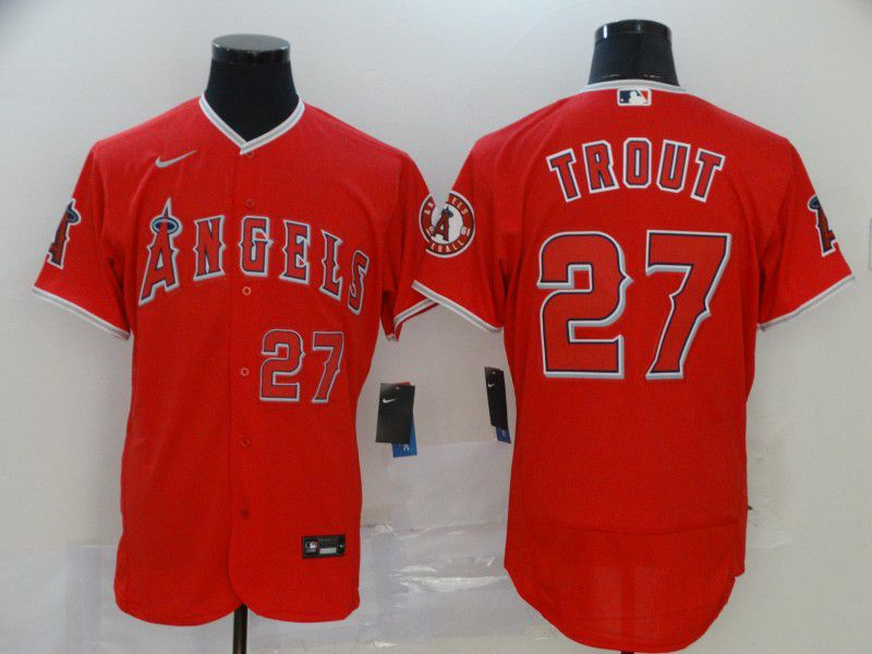 Men Los Angeles Angels 27 Trout Red Nike Elite MLB Jerseys