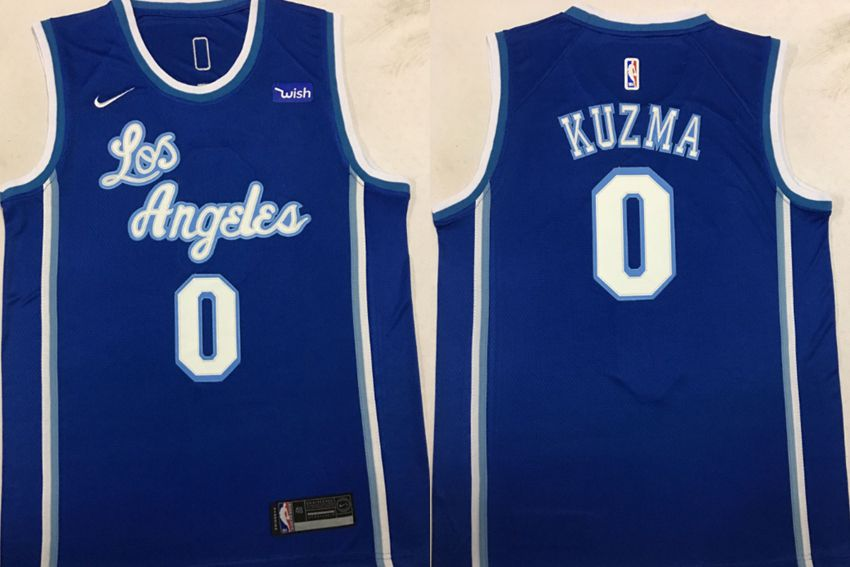Men Los Angeles Lakers 0 Kuzma Blue Game Nike NBA Jerseys