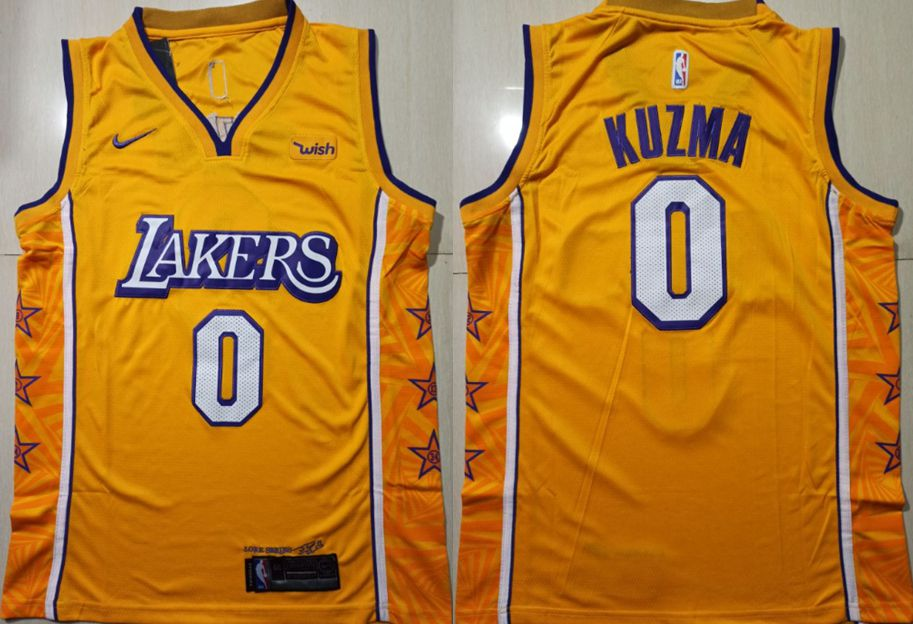 Men Los Angeles Lakers 0 Kuzma Yellow Game Nike NBA Jerseys