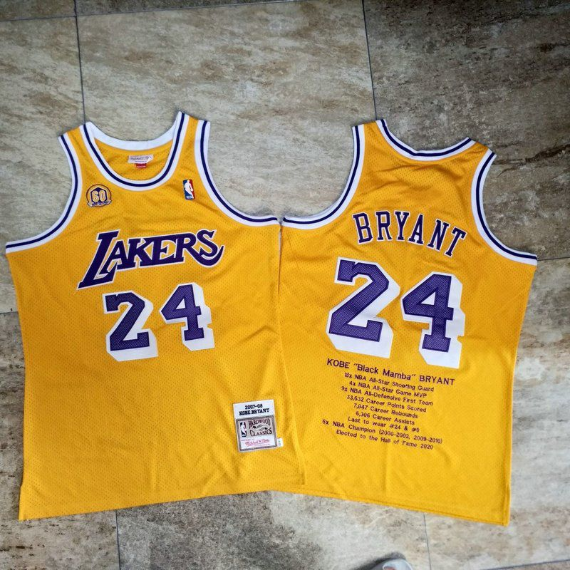 Men Los Angeles Lakers 24 Bryant Yellow Career honor English embroidered version NBA Jerseys