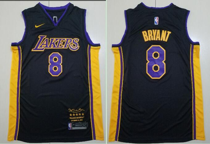 Men Los Angeles Lakers 8 Bryant Black Game Nike NBA Jerseys
