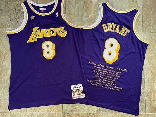 Men Los Angeles Lakers 8 Bryant Purple Career honor English embroidered version NBA Jerseys