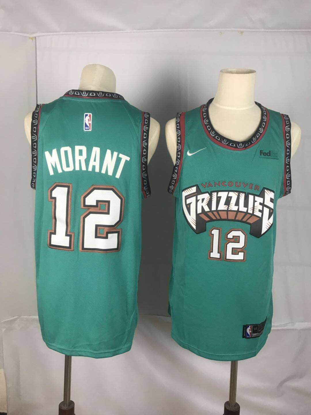 Men Memphis Grizzlies 12 Morant Green Throwback Nike NBA Jerseys
