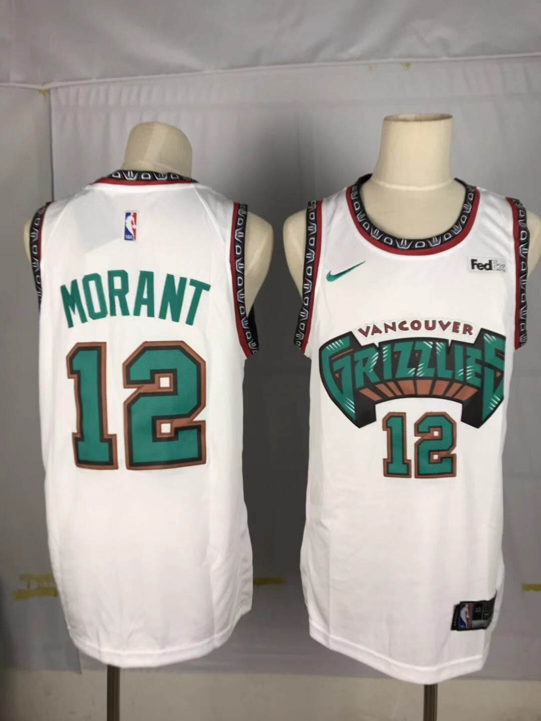 Men Memphis Grizzlies 12 Morant White Throwback Nike NBA Jerseys