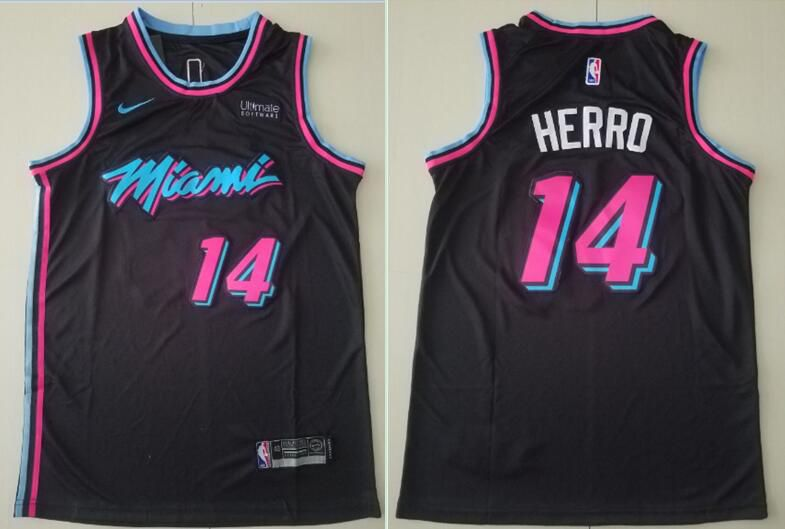 Men Miami Heat 14 Herro Black Nike Game NBA Jerseys