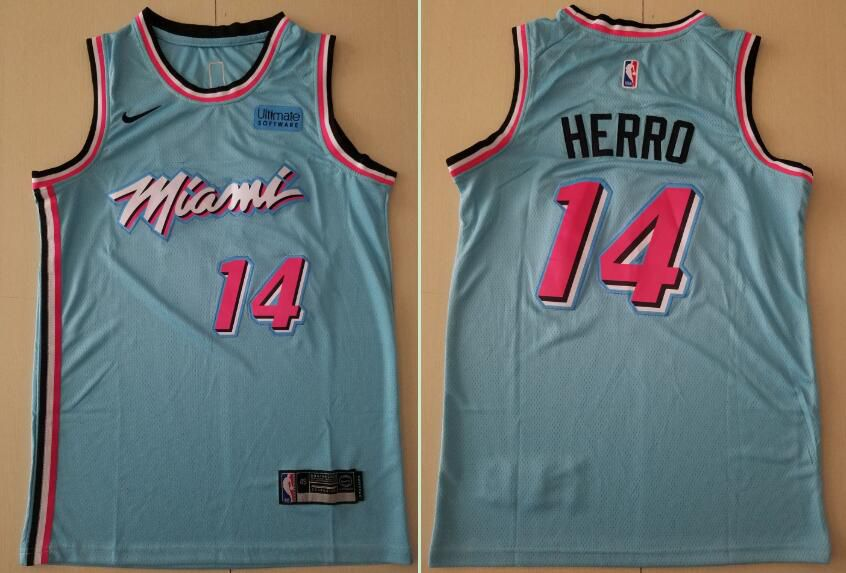 Men Miami Heat 14 Herro Blue Nike Game NBA Jerseys