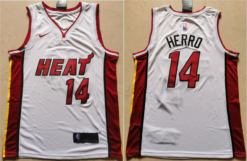 Men Miami Heat 14 Herro White Nike Game NBA Jerseys