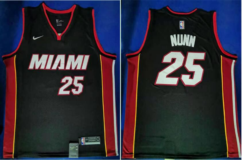 Men Miami Heat 25 Nunn Black Nike Game NBA Jerseys