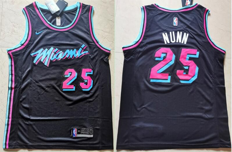 Men Miami Heat 25 Nunn Black Nike Game NBA Jerseys1