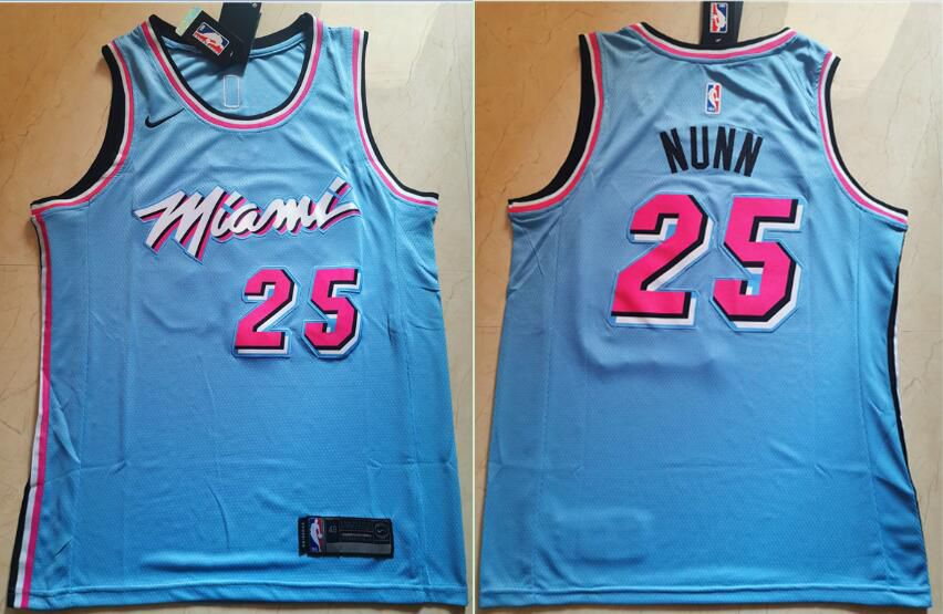 Men Miami Heat 25 Nunn Blue Nike Game NBA Jerseys