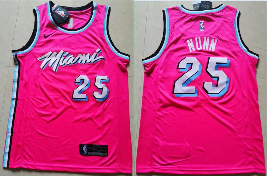 Men Miami Heat 25 Nunn Pink Nike Game NBA Jerseys