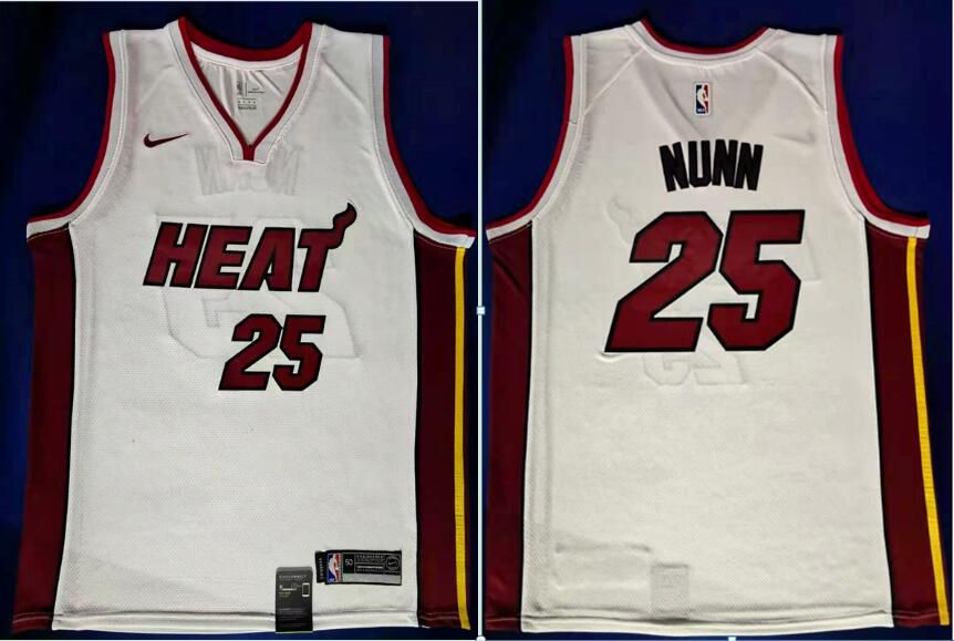 Men Miami Heat 25 Nunn White Nike Game NBA Jerseys