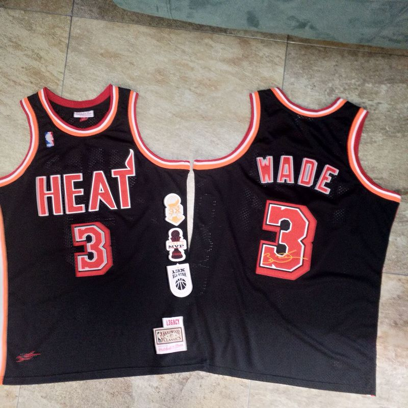 Men Miami Heat 3 Wade Black Retro decommissioning commemorative black embroidery NBA Jerseys