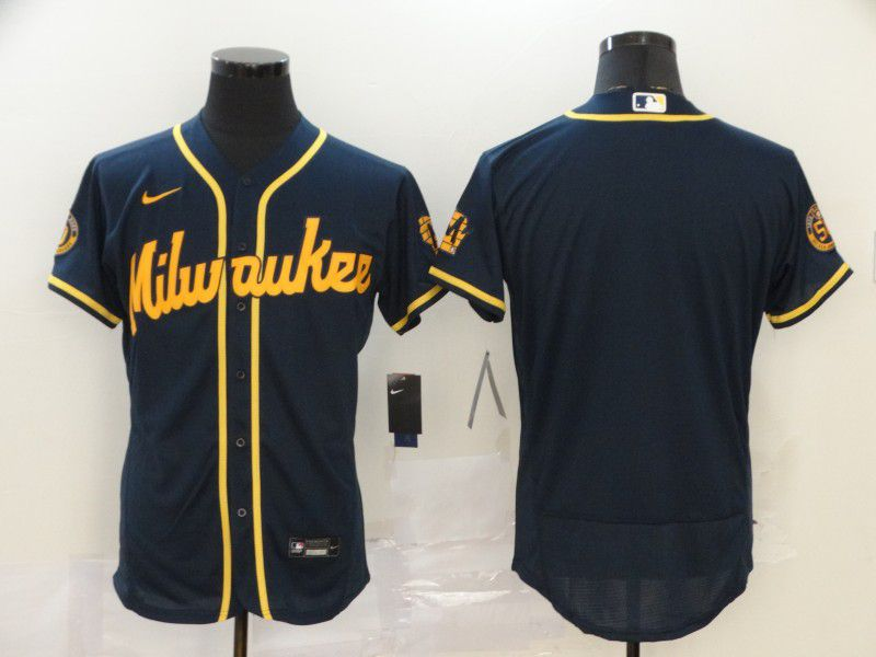 Men Milwaukee Brewers Blank Blue Nike Elite MLB Jerseys