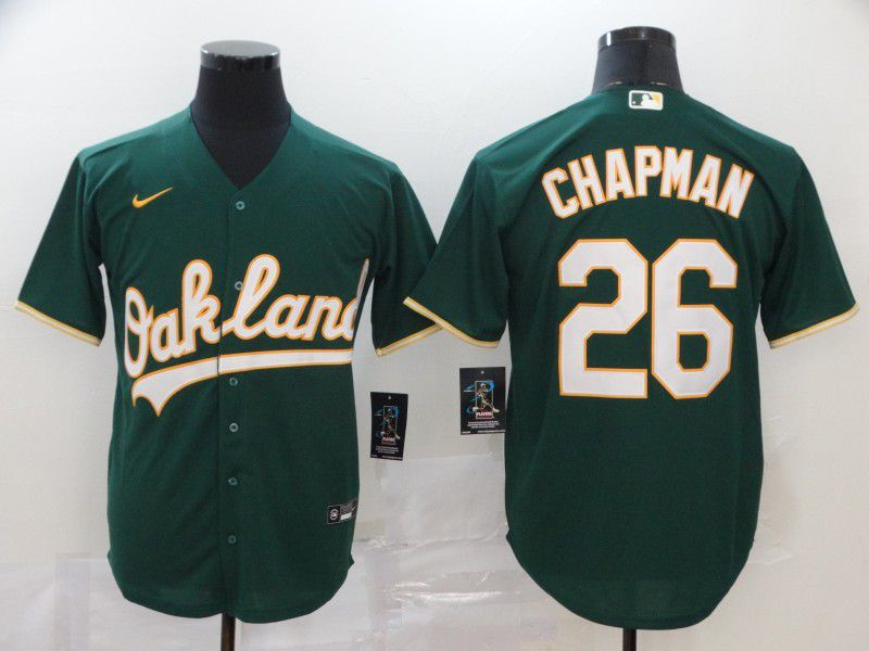Men Oakland Athletics 26 Chapman Green Nike Game MLB Jerseys