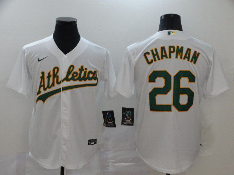 Men Oakland Athletics 26 Chapman White Nike Game MLB Jerseys
