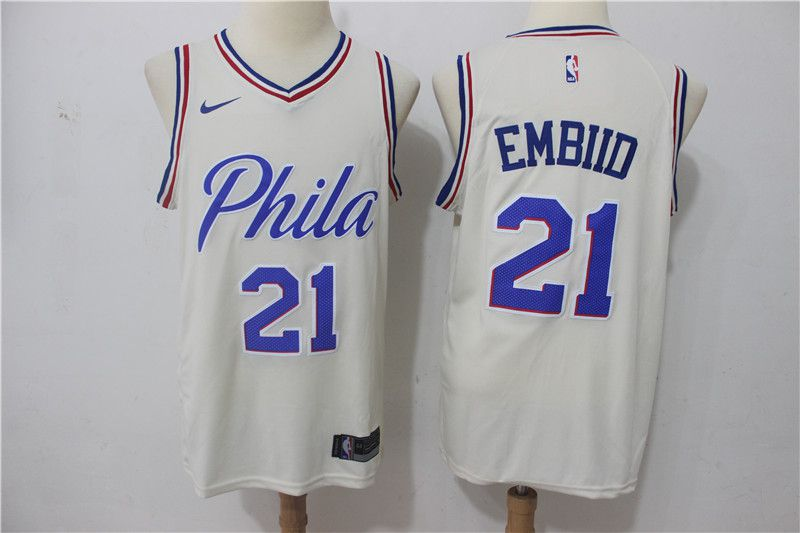 Men Philadelphia 76ers 21 Embiid White City Edition Nike NBA Jerseys