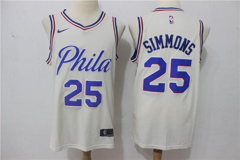 Men Philadelphia 76ers 25 Simmons White City Edition Nike NBA Jerseys