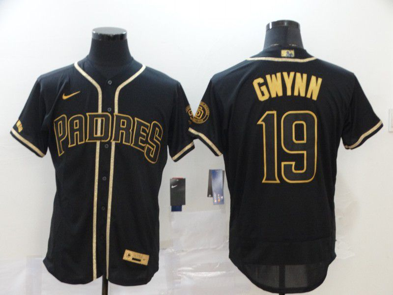 Men San Diego Padres 19 Gwynn Black Retro gold character Nike Elite MLB Jerseys