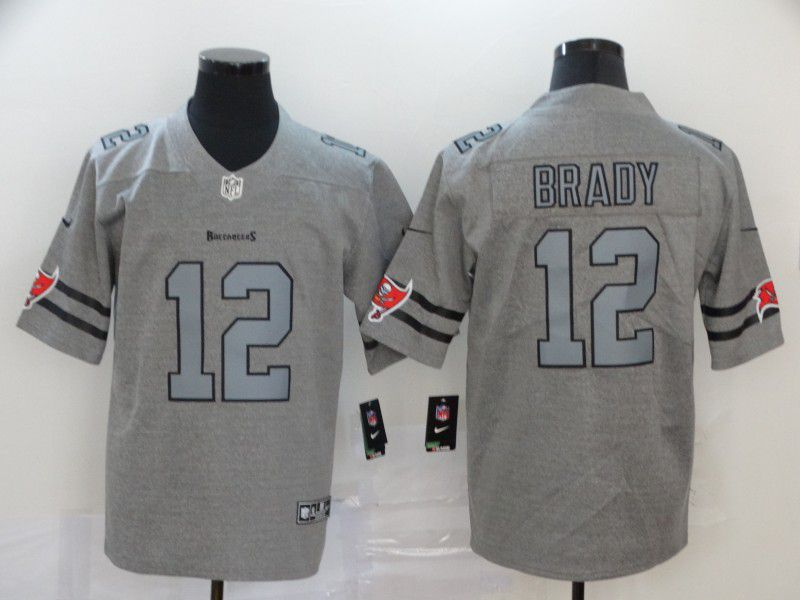 Men Tampa Bay Buccaneers 12 Brady Grey Nike Limited Vapor Untouchable NFL Jerseys